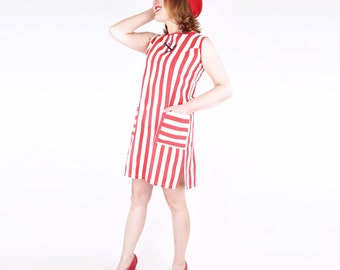 60s Red and White Stripe Cotton Shift Dress with Anchor Applique S M