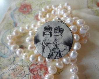 SALE - Queen Mother and King George VI Vintage British Royal Souvenir Coronation Pin Black and White Photograph - EnglishPreserves