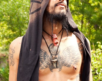 Large Post Apocalyptic Stained Hood Scarf Pentagram Pentacle Wolf Crow Chaos Deer Skull Goat Snake