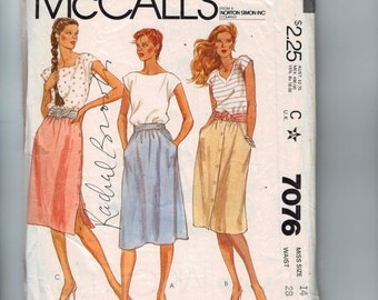 1980s Vintage Sewing Pattern McCalls 7076 Misses Softly Gathered Button Front Side Skirt Size 14 Bust 36 Waist 28 80s