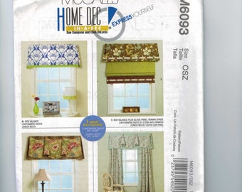 Craft Sewing Pattern McCalls M6093 6093 Home Decor Dec in a Sec Window Box Valance Curtain Tab Drapes Side Panel UNCUT