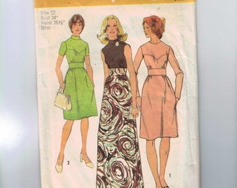 1970s Vintage Sewing Pattern Simplicity 5236 Misses Dress with Long or Short Version Size 12 Bust 34 1972
