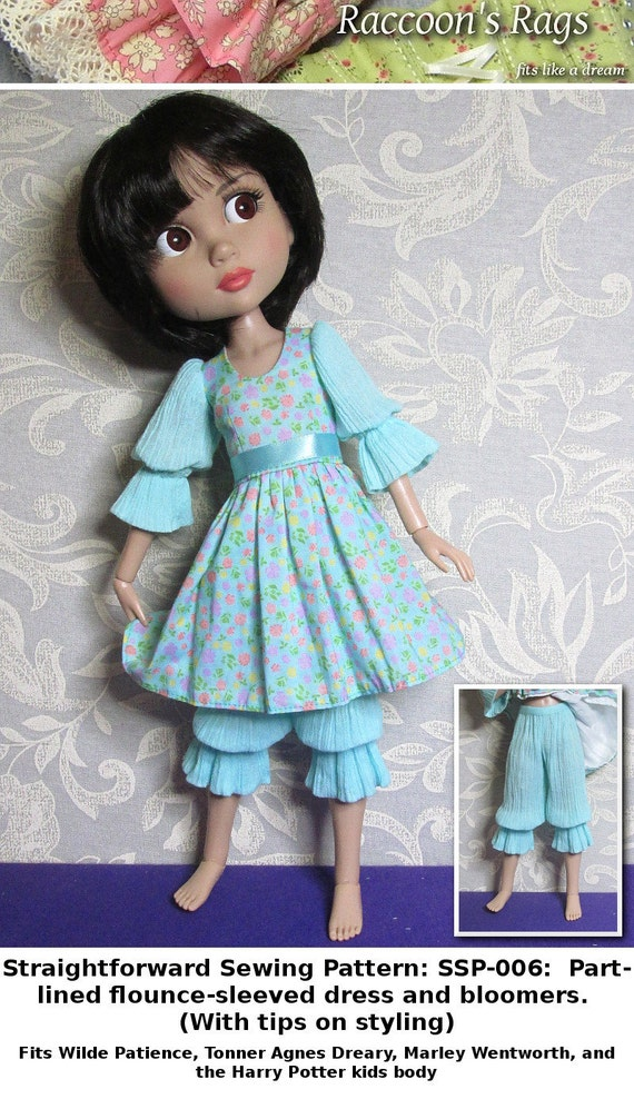 STRAIGHTFORWARD SEWING Pattern- SSP-006: Part-lined dress + bloomers for Tonner Patience, Marley Wentworth & Agnes Dreary.