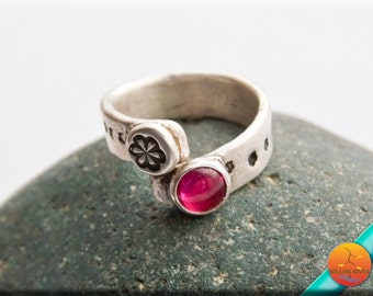 Women's Red Ruby Silver Wrap Ring, Handmade in fine silver with a petite lab created ruby