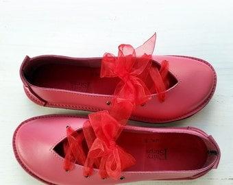 SALE. UK 8, Handmade Womens Leather Fairytale Shoes, CLARA Shoes 2864 Lipstick Pink