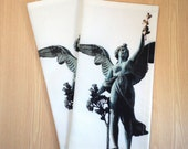 Angel photo print napkin, Winged Peace Angel, Prague, Czech Republic, set of 2
