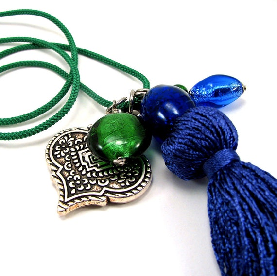 Moroccan style tassel necklace in Emerald Green and Cobalt Blue