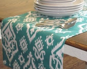 Jade/Teal and White Raji Table Runner - Weddings, Receptions, Parties, Dining Table, Buffet