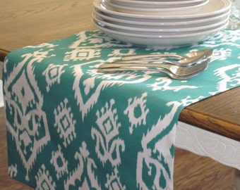 "Jade/Teal and White 69"" Table Runner - Weddings, Receptions, Parties, Dining Table, Buffet - Ready to Ship!"