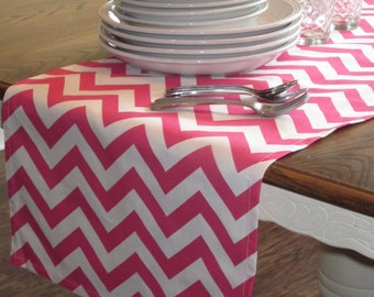 Pink Chevron Table Runner - Weddings, Receptions, Parties, Dining Table, Buffet