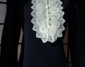 60s 70s S Carol Brent Lace Bib Dress Navy Blue Excellent Condition Vintage