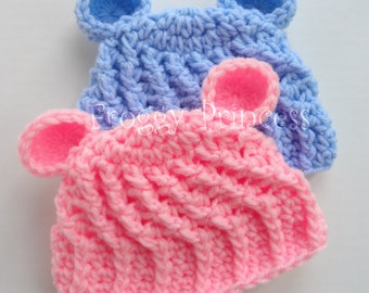 Baby Bear Hat - Newborn READY to SHIP - Crocheted Photo Prop
