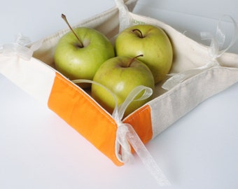 Fabric Bread Basket, Fabric Basket or Mug Rug 'Colour Splash', fabric storage organizer or patchwork mug rug