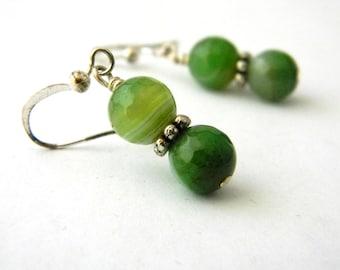 Green Agate Stone Earrings Dangle Earrings Beaded Earrings