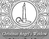 Printable Coloring Book Page for Adults - Christmas Angel's Window Stained Glass with Candle Mandala in Art Nouveau Style Line Art