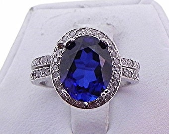 AAA Manmade Sapphire   10x8mm   14K White gold diamond bridal set(.48ct) Ring MMM