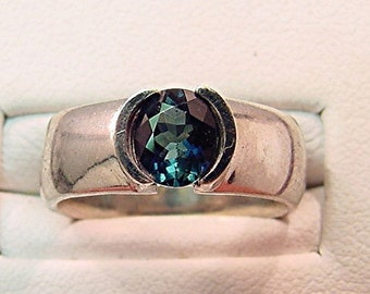 AAA Blue Indicolite Tourmaline 6.5x5.4mm .80 Carat 14K White gold ring 0156