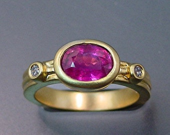 VIVID Red/pink Tourmaline diamond ring   8x6mm  1.09 Carats   Natural Untreated 18K White or yellow gold ring 0667