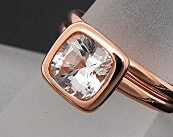 AAA White Topaz  Cushion Cut   7x7mm  2.07 Carats   in a 14K Rose gold bridal set. 2051 MMM