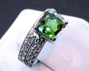 AAA Green Tourmaline   7x7mm  1.62 Carats   Diamond 14K white gold Bridal set (.60CT) 756 MMMM