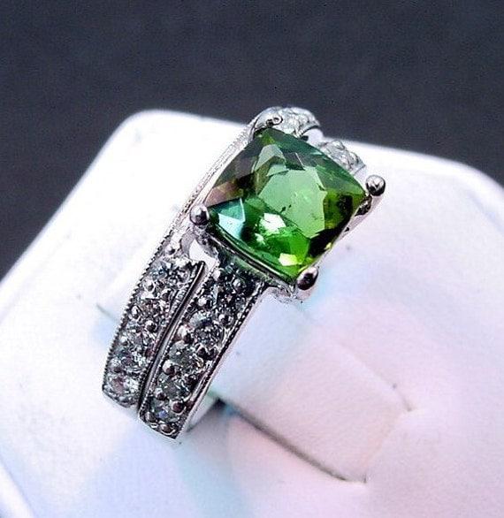 AAA Green Tourmaline   7x7mm  1.62 Carats   Diamond 14K white gold Bridal set (.60CT) 756 MMM