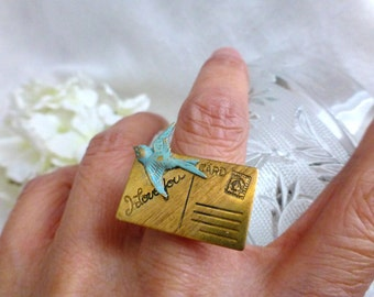 I Love You Postcard Ring - Verdigris Bird Whimsical Travel Love Letter Ring - Statement Jewelry