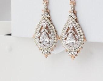 Rose Gold Bridal Earrings Chandelier Wedding Earrings Swarovski Crystal Art Deco Earrings Vintage Bridal Jewelry Mixed Metal Earrings ZOE