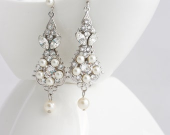 Pearl and Crystal Wedding Earrings Vintage Bridal Earrings Small Chandelier Earrings Wedding Jewelry Swarovski Crystal  PARIS