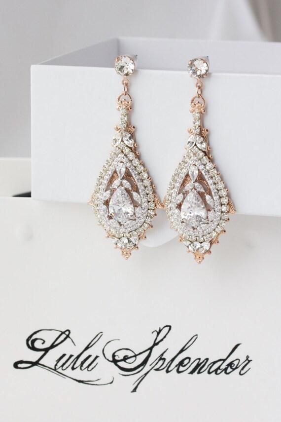 rose gold bridal earrings chandelier wedding earrings. Black Bedroom Furniture Sets. Home Design Ideas