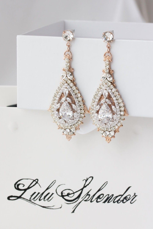 Rose Gold Bridal Earrings Chandelier Wedding Earrings