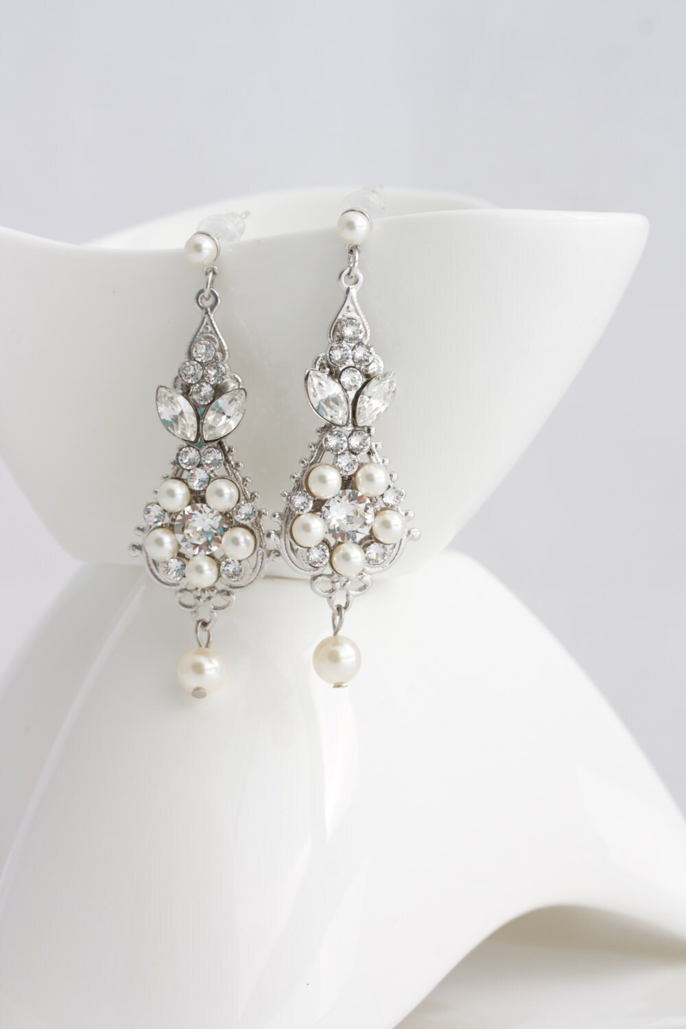 Pearl and Crystal Wedding Earrings Vintage Bridal Earrings
