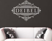 Family Name with established date in fancy frame - Personalized Vinyl Wall Decal Wall Art