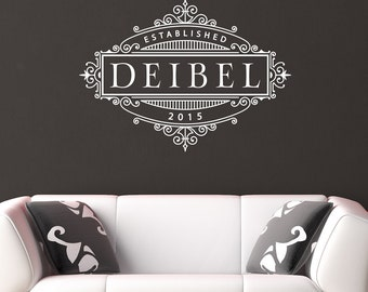 Family Name Wall Decal Established Date Decal PersonalizedWall Decal Family Name Decal Personalized Monogram Family Name and Date Decal