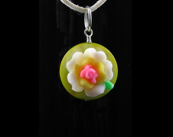 Handcrafted Green and White Polymer Clay Flower Pendant Necklace - Dainty - Two Cords