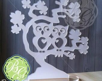 "Owl Cake Topper, FROSTED WHITE ""Owl Love You Forever"" Wedding  Keepsake Topper, Anniversary, Rustic Owl Art *Original Design*"