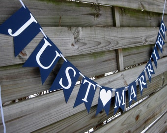 Just Married wedding banner | Wedding Bunting Decoration in your custom colors | Just Married sign