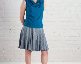 Saturn Top - size LARGE or X-LARGE Sleeveless Cowl Neck Top, eco fashion, blue organic cotton and soy
