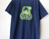 JNCO // Vintage 90s Rave Shirt Mad Scientist Skater Clothing Cyber Rave 1990s Tshirt Navy Blue Thrashed Unisex Small