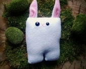 White Bunny Nubbin - Classic Pink Ears - Made To Order