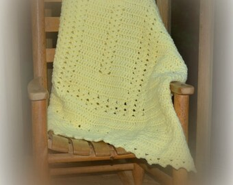 Yellow Crochet Baby Blanket Baby Afghan Baby Shower Gift Travel Blanket Security Blanket Gender Neutral Modern Crochet READY TO SHIP