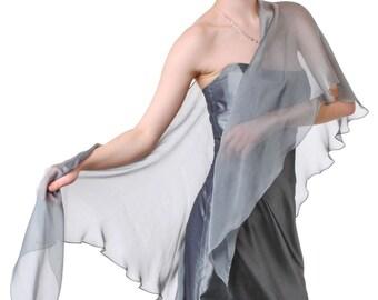 Silver Grey Silk Chiffon Shawl