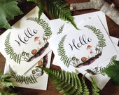 "Printable Woodland ""Hello"" Note & Postcard Set - Digital"