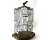 1930s Folk Art Birdcage, Handmade Tramp Art Bird Cage