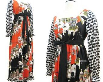Vintage 70s Dress Kamehameha Hawaiian Novelty Print India Elephants Maxi Gown L
