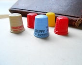 five plastic thimbles 50s or 60s advertising political sewing collecitibles