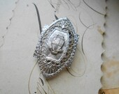 silver art deco vintage dress clip with shield - vintage costume jewelry