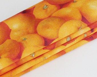 Florida Oranges Cotton Napkins / Set of 4 / Visual Vitamin C. Eco-Friendly Sunny Breakfast Table Decor / Unique Gift Under 50