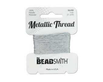 Metallic Thread by Beadsmith Silver Beading Thread 43348 25 yds, Polyester Core Metallic Thread, Beadwork Thread, Embellishment Threads