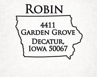 Iowa Personalized Return Address State Stamp