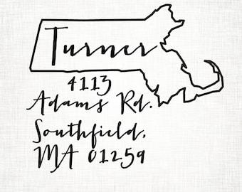 Massachusetts Personalized Return Address State Stamp